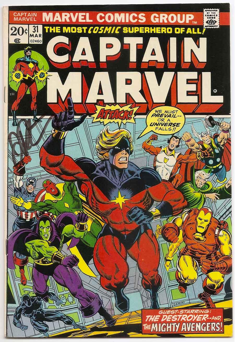 captain marvel (vol. 1) # 31 early thanos signedjim starlin