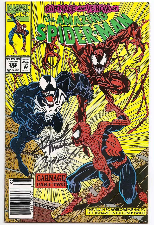 amazing spider-man # 362 1st carnage vs venom signed - brooklyn
