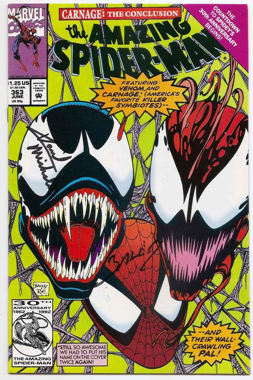 amazing spider-man # 363 carnage vs venom signed - brooklyn comic shop